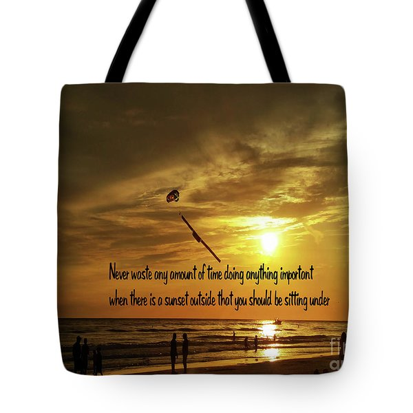 Sunset On The Beach Tote Bag by Gary Wonning