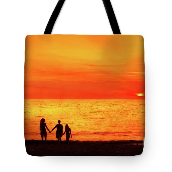Tote Bag featuring the digital art Sunset On The Beach by Randy Steele