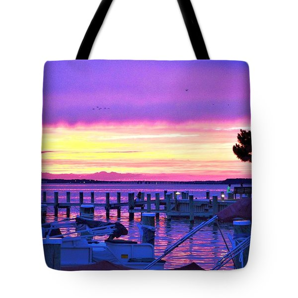 Sunset On The Docks Tote Bag