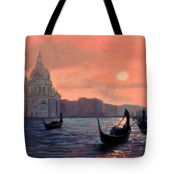 Sunset On The Grand Canal In Venice Tote Bag by Janet King