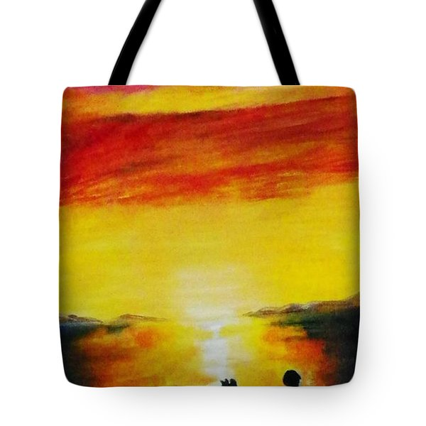 Sunset On The Great Salt Lake Tote Bag by Sherril Porter