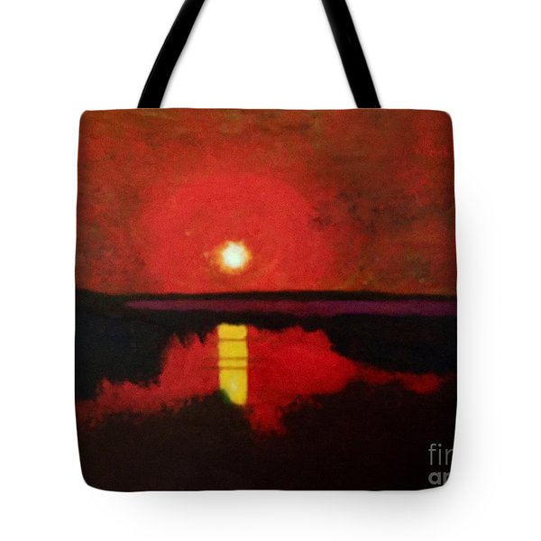 Sunset On The Lake Tote Bag by Donald J Ryker III