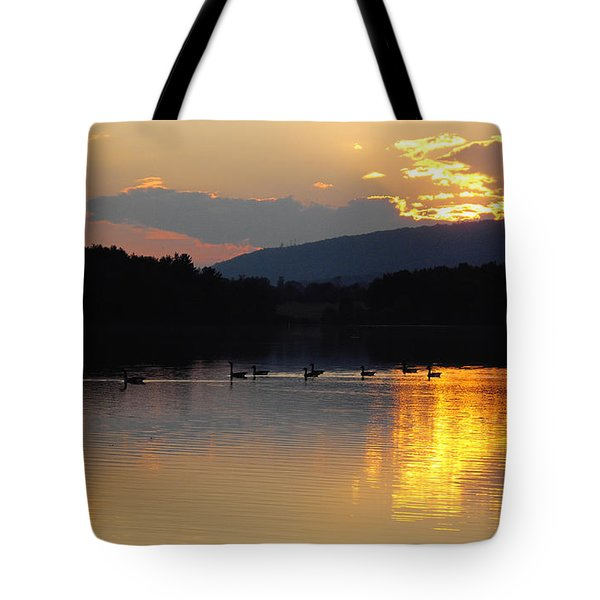 Tote Bag featuring the photograph Sunset On The Lake by Vilas Malankar
