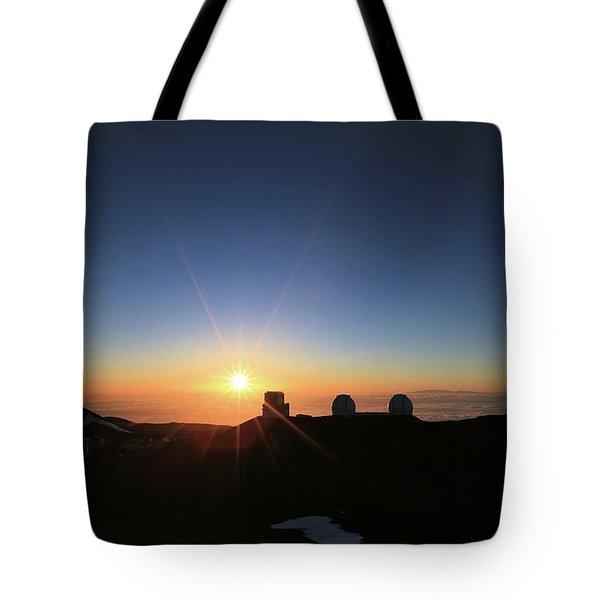 Sunset On The Mauna Kea Observatories Tote Bag