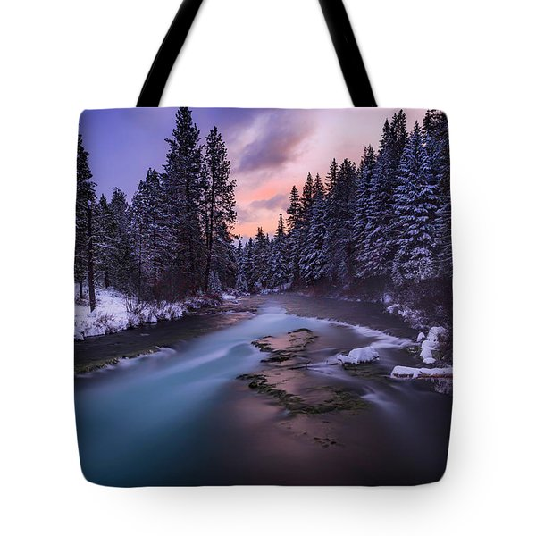 Tote Bag featuring the photograph Sunset On The Metolius by Cat Connor