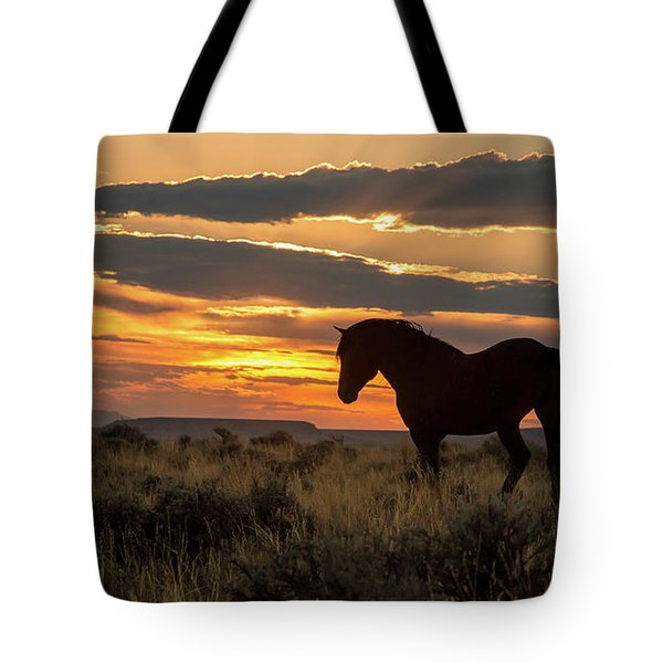 Sunset On The Mustang Tote Bag by Jack Bell