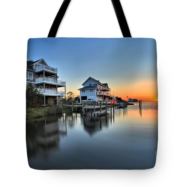 Sunset On The Obx Sound Tote Bag