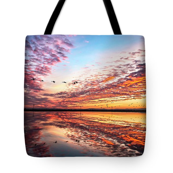 Sunset On The Pacific Flyway Tote Bag