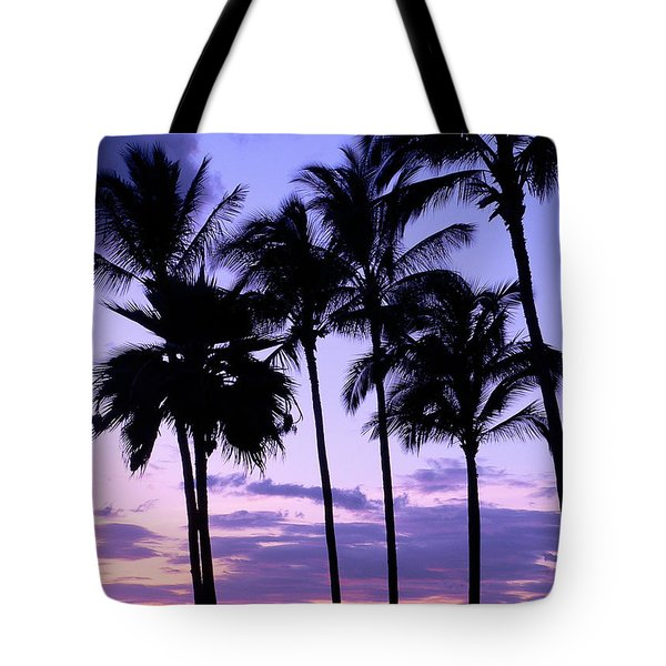 Sunset On The Palms Tote Bag by Debbie Karnes