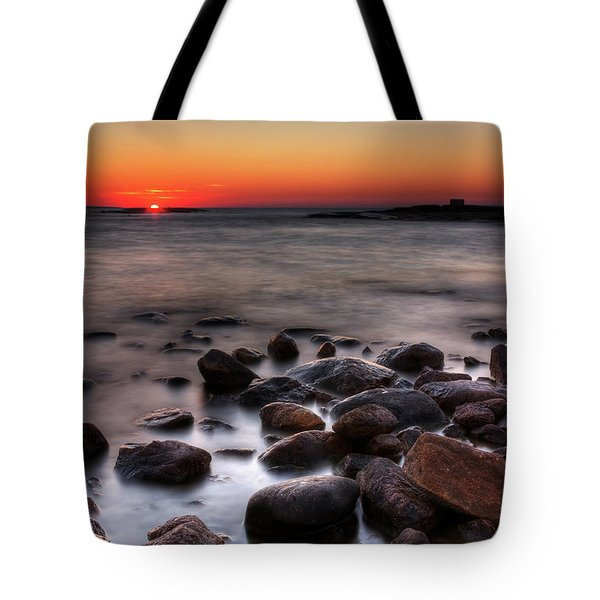 Sunset On The Rocks Tote Bag by Brian Boudreau