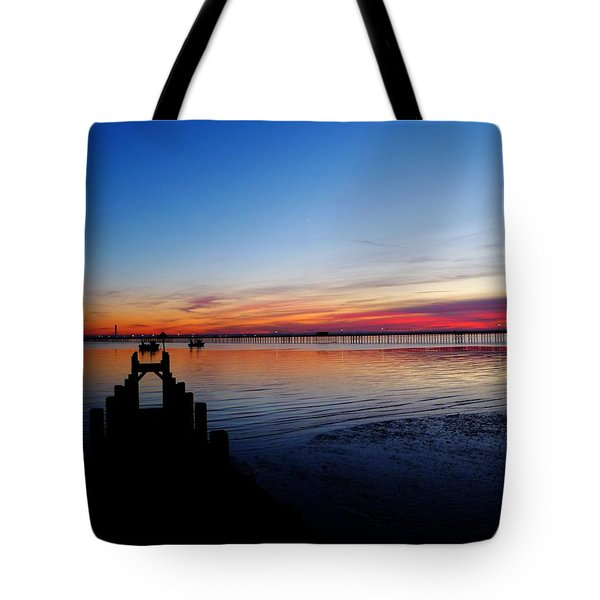 Sunset On The Shore Of Southend Tote Bag