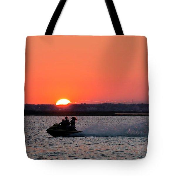 Sunset On The Ski Tote Bag