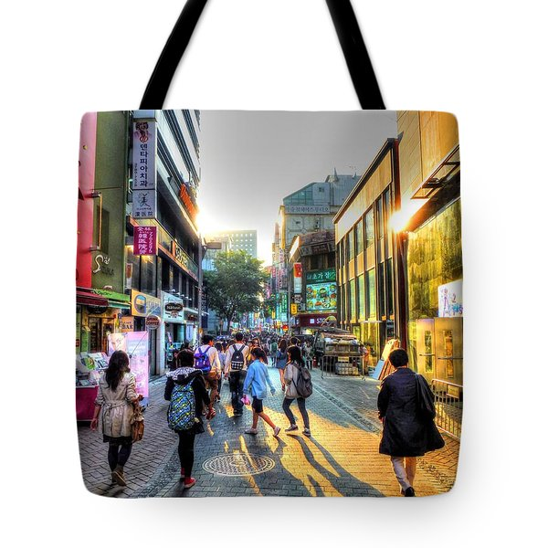 Sunset On The Streets Of Seoul Tote Bag by Michael Garyet