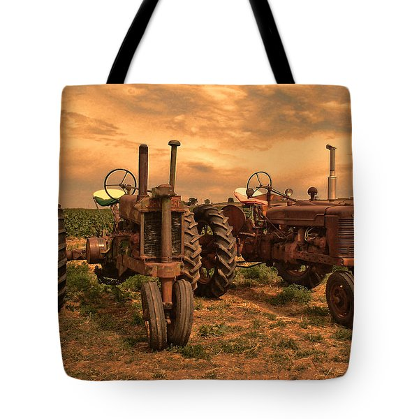 Sunset On The Tractors Tote Bag by Ken Smith