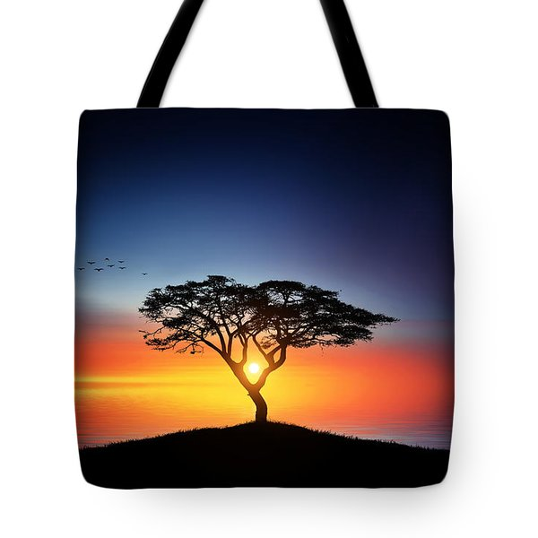 Sunset On The Tree Tote Bag