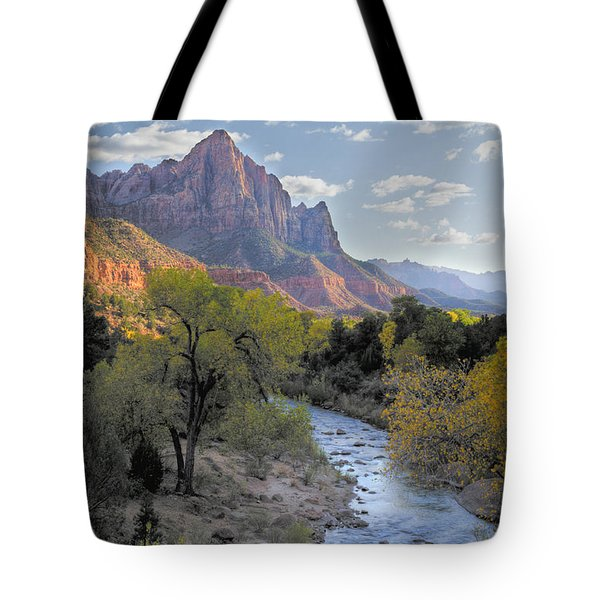 Sunset On The Watchman Tote Bag by Sandra Bronstein