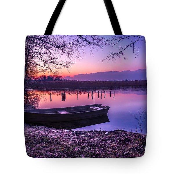 Sunset On The White Lake Tote Bag