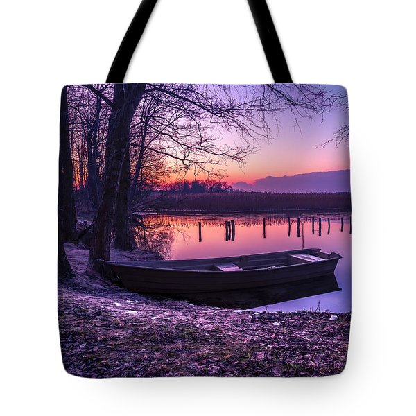 Sunset On The White Lake Tote Bag