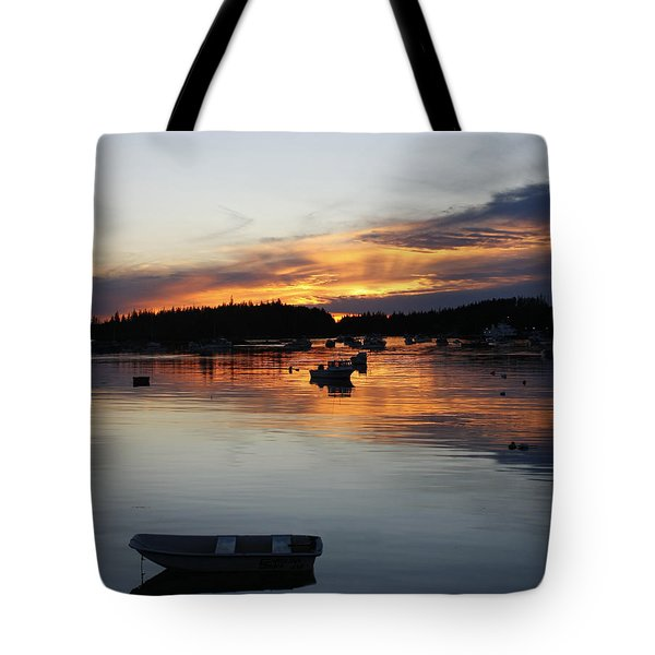 Sunset On Vinalhaven Maine Tote Bag