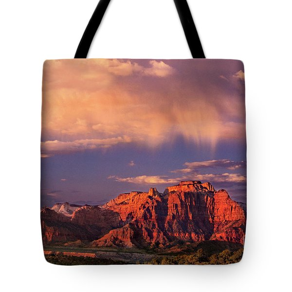 Sunset On West Temple Zion National Park Tote Bag by Dave Welling