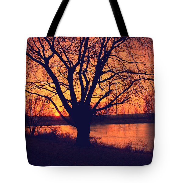 Sunset On Willow Pond Tote Bag by Kathy M Krause