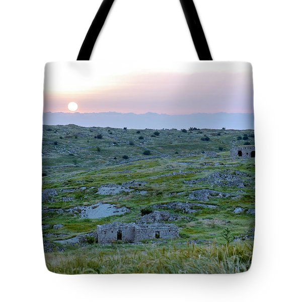 Sunset Over A 2000 Years Old Village Tote Bag