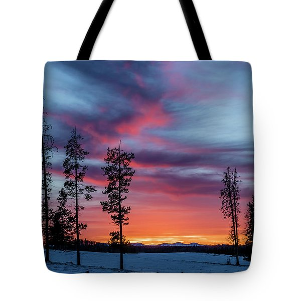 Sunset Over A Farmers Field, Cowboy Trail, Alberta, Canada Tote Bag