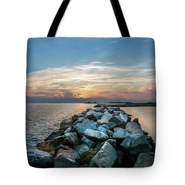 Sunset Over A Rock Jetty On The Chesapeake Bay Tote Bag