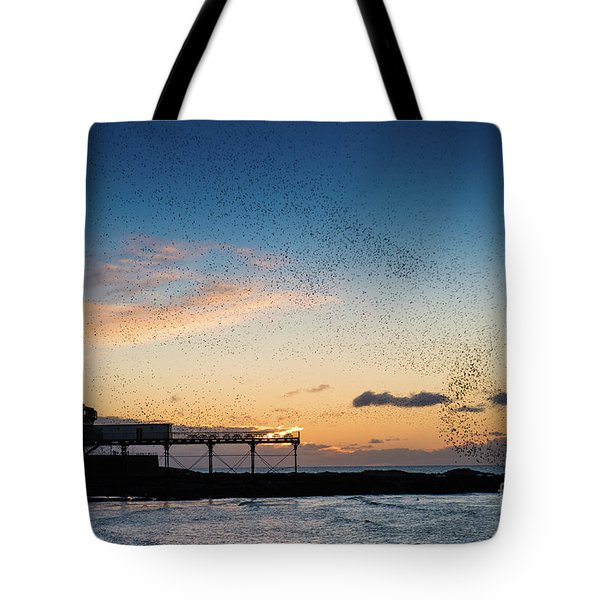 Sunset Over Aberystwyth Pier Tote Bag