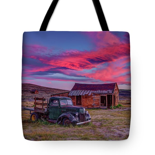 Sunset Over Bodie's Green Truck Tote Bag