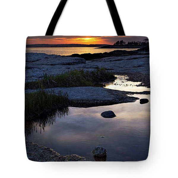 Sunset Over Boothbay Harbor Maine  -23095-23099 Tote Bag
