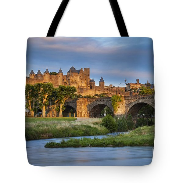 Sunset Over Carcassonne Tote Bag by Brian Jannsen