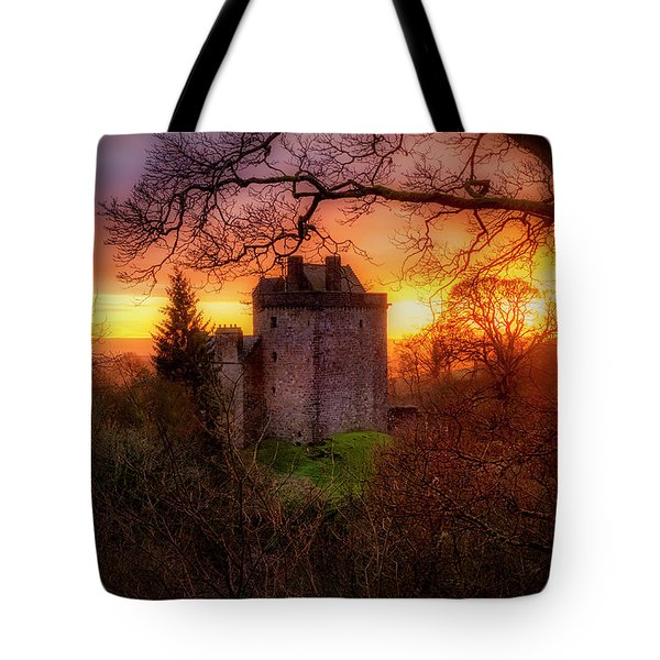 Tote Bag featuring the photograph Sunset Over Castle Campbell In Scotland by Jeremy Lavender Photography