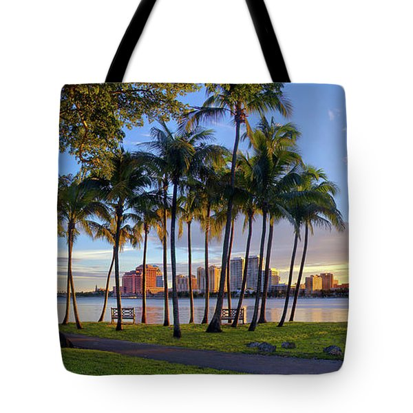 Sunset Over Downtown West Palm Beach From Palm Beach Island Tote Bag