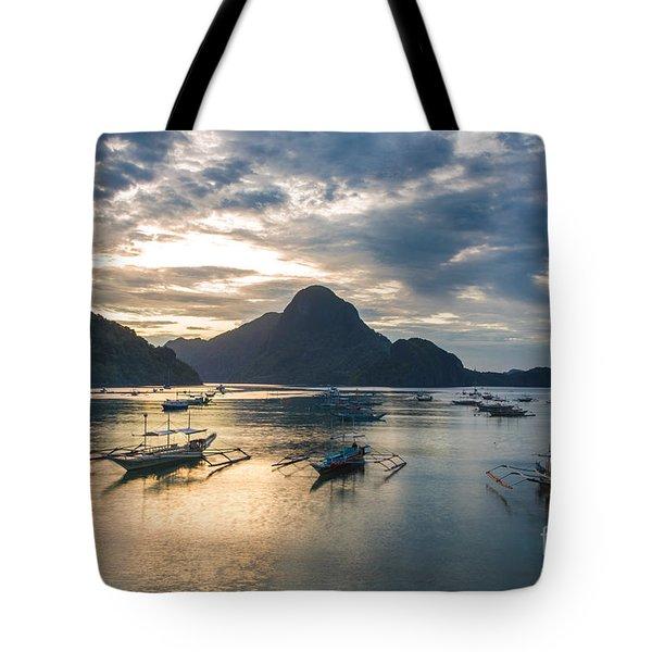 Sunset Over El Nido Bay In Palawan, Philippines Tote Bag