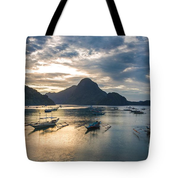 Sunset Over El Nido Bay In Palawan, Philippines Tote Bag