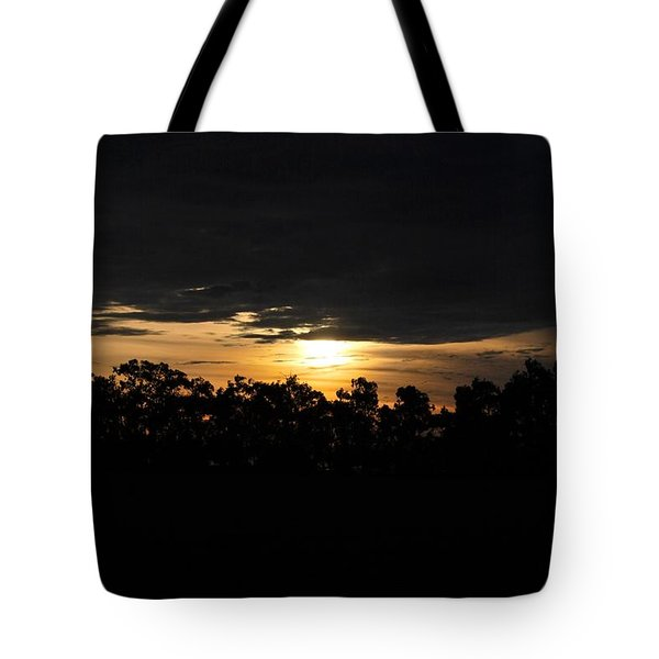 Sunset Over Farm And Trees - Silhouette View  Tote Bag