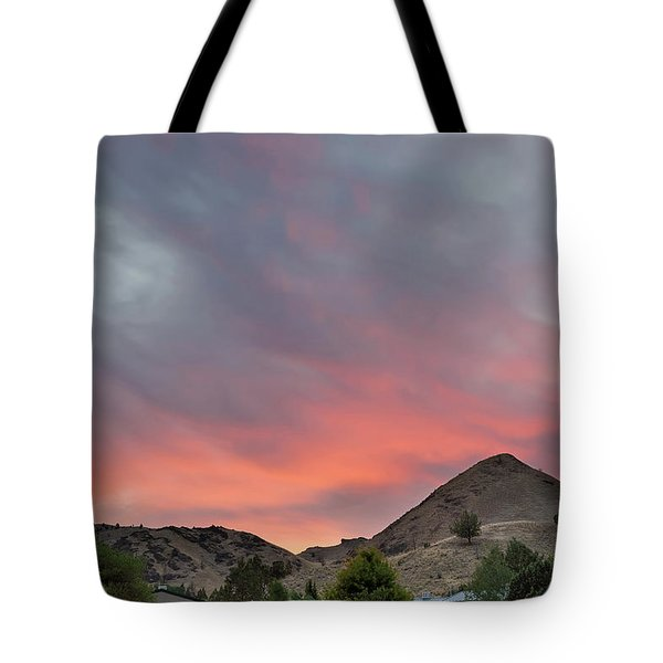 Sunset Over Farmland In Central Oregon Tote Bag