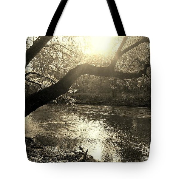 Sunset Over Flat Rock River - Southern Indiana - Sepia Tote Bag
