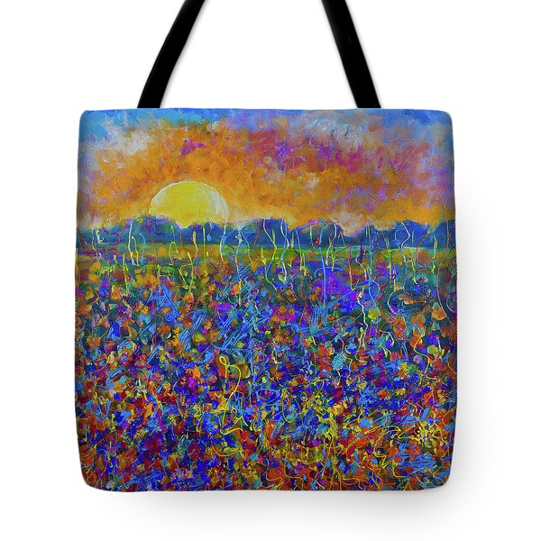Sunset Over Flower Field Tote Bag