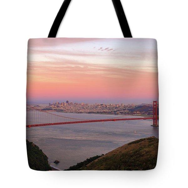 Sunset Over Golden Gate Bridge And San Francisco Skyline Tote Bag