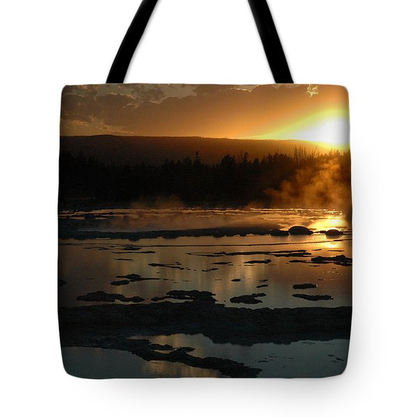 Sunset Over Great Fountain Geyser In Yellowstone National Park Tote Bag