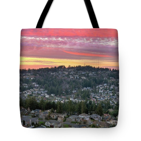 Sunset Over Happy Valley Residential Neighborhood Tote Bag