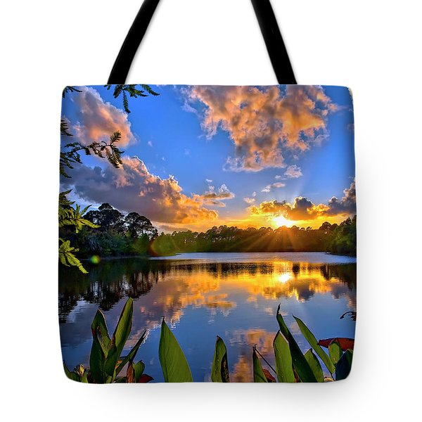Tote Bag featuring the photograph Sunset Over Hidden Lake In Jupiter Florida by Justin Kelefas