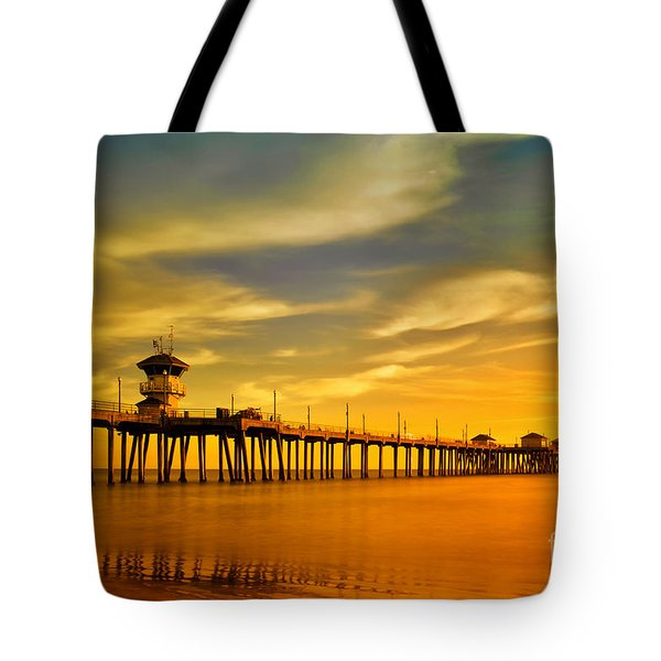 Sunset Over Huntington Beach Pier Tote Bag