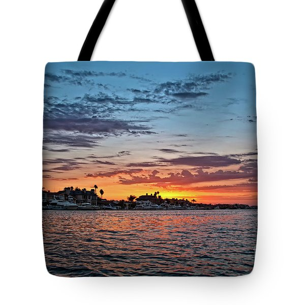 Sunset Over Huntington Harbour Tote Bag