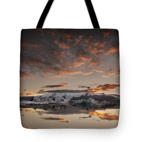 Sunset Over Jokulsarlon Lagoon, Iceland Tote Bag by Chris McKenna
