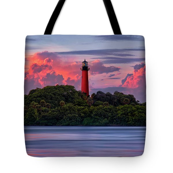 Tote Bag featuring the photograph Sunset Over Jupiter Lighthouse, Florida by Justin Kelefas