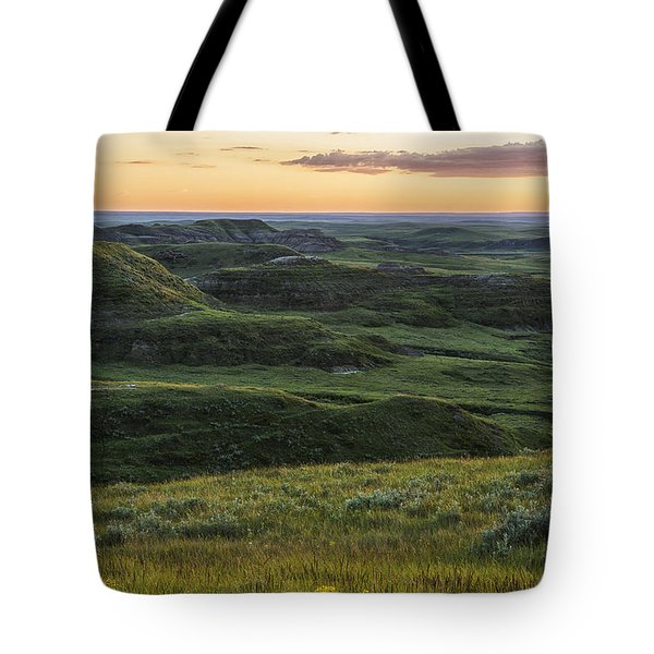 Sunset Over Killdeer Badlands Tote Bag by Robert Postma