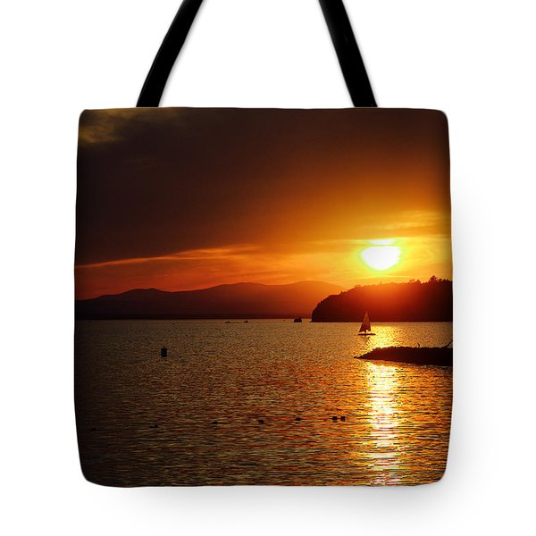 Sunset Over Lake Champlain Tote Bag